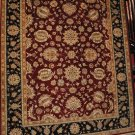 8x10 RED BLACK RUG GOLD FLOWERS HANDMADE WOOL INDIA NEW