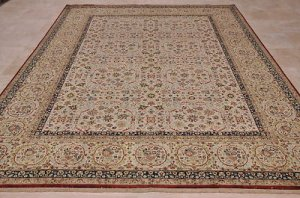 9x12 WOOL SILK AREA RUG PERSIAN HANDMADE IVORY RED BLUE