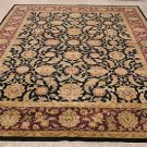 9x12 WOOL RUG HANDMADE PERSIAN TAPAN BLACK RED GOLD