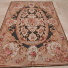 6x9 AREA RUG HANDMADE FRENCH AUBUSSON GREEN IVORY GOLD