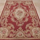 AREA RUG 6x9 HANDMADE FRENCH AUBUSSON RED IVORY GOLD
