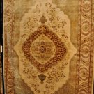 RARE MASTERPIECE KIRMAN 6x9 WOOL AREA RUG FINE WEAVE RUST BEIGE GOLD 196 KPSI