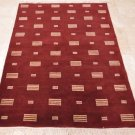 4x6 WOOL AREA RUG HANDMADE PERSIAN INDO NEPAL RED CONTEMPORARY MODERN 100 KPSI
