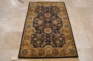 4x6 WOOL AREA RUG PERSIAN NAVY GOLD RED HAND MADE TUFTED COTTON BACKING