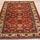 5x6 HAND KNOTTED NEW ZEALAND WOOL AREA RUG RED IVORY BLUE KAZAK TRIBAL