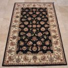 4x6 WOOL & SILK AREA RUG NAVY IVORY HANDMADE TUFTED TRADITIONAL CHINESE