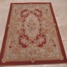 4x6 FRENCH AUBUSSON HANDMADE WOOL AREA RUG RED GOLD SAVONERRIE NEEDLE POINT