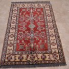 3x5 KAZAK TRIBAL HANDMADE WOOL AREA RUG RED IVORY BLUE PAKISTANI 10/10