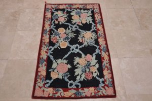 3x5 WOOL AREA RUG FRENCH AUBUSSON NAVY RED TAPESTRY CHAIN STITCH SAVONERRIE