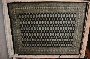 HANDMADE TRIBAL BLACK BOKHARA 8x10 WOOL RUG PERSIAN TAN