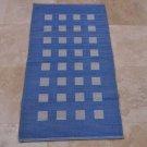 2x4 THROW AREA RUGS COTTON HANDMADE KITCHEN BATHROOM BLUE WHITE SQUARES INDIA