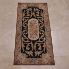 2x4 AREA RUG FRENCH AUBUSSON SAVONERRIE NEEDLE POINT BLACK GOLD ROSE BLUE