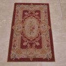2x4 AREA RUG FRENCH AUBUSSON SAVONERRIE NEEDLE POINT BURGUNDY GOLD ROSE GREEN