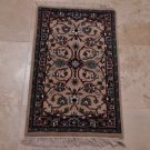 2x3 RUG PERSIAN KASHAN SMALL HANDMADE WOOL TAUPE BLACK RED BLUE WHITE