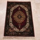 2x3 RUG WOOL PERSIAN IVORY RED BLACK IVORY WHITE GREEN GOLD KIRMAN HANDMADE