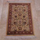2x3 FINE PAK PERSIAN HANDMADE RUG KNOTTED IVORY RUST RED GREEN PAKISTANI 16/16