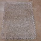 NEW 2x3 HANDMADE WOOL AREA RUG SHAGGY FLAT CHIPS WHITE NEW ZEALAND WOOL & SILK