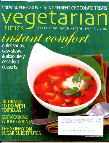Vegetarian Times Magazine - February 2007 - 5 Ingredient Chocolate Treats