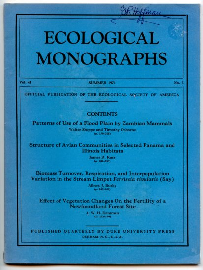 Ecological Monographs - Volume 41, Summer 1971, No. 3 - Duke University Press