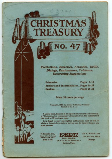 Christmas Treasury No. 47 (1936 Lorenz Publishing) Recitations, Exercises, Drills, Dialogs...
