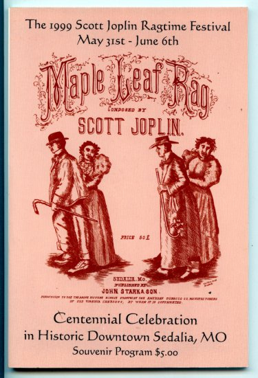 1999 Scott Joplin Ragtime Festival Souvenir Program Centennial Celebration Sedalia Missouri