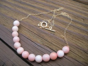 Angel Skin Pink Coral Modern Chain Necklace Gold Unique OOAK everyday luxury on-budget