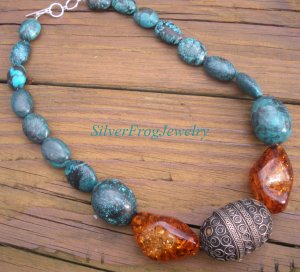 Showstopper Necklace Turquoise Amber Antique Tribal SIlver rare unique