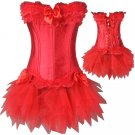 PLUS SIZE SEXY LINGERIE CORSET BUSTIERS SKIRT PETITE RED LINGERE SMALL S TO XXL