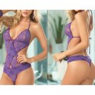 *NIP New Purple Sexy Lingerie Teddies Teddy BodySuit Erotic Intimate Apparel #M