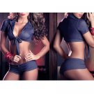 Sexy Dark Blue Bikini Style Lingerie Bra and Panties Panty Set Hot Size Medium