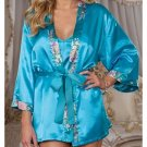 Sexy Light Blue Aquamarine Lingerie Lingere Night Bath Robe Gown Size Regular