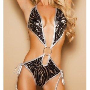 NIP Sexy Erotic Black, Silver or Gold Leopard Lingerie Hot Teddies Teddy Women