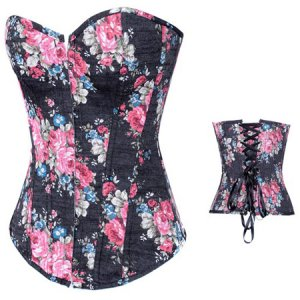 Sexy Black or Blue Blossom Floral Denim Canvas Corset Bustier Nylon Lingerie XL