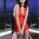 SEXY~LINGERIE~LINGEIRE~LACE~HALTER~MINI~ROUGE~RED~BABYDOLL~DRESS~SLEEPWEAR~ADULT