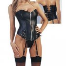 BLACK LEATHER SEXY CORSET BUSTIER BONDAGE ADULT BACK LACE NAUGTHY LINGERIE XL