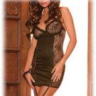 Sexy Lingerie Black Chemise Satin Lace Adjustable Straps + Garters Size S, M, L