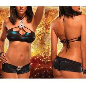 Sexy Wild Erotic Black+Blue Hot Lingerie Night Sleepwear Women Bikini Bra Set