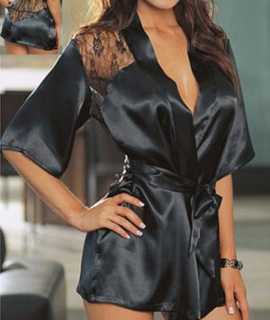 SEXY MATURE LINGERIE LINGERE NIGHTGOWN BATHROBE INTIMATE BLACK NIGHT GOWN ROBE