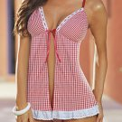 SEXY LINGERIE LINGERE PINK DOTTED W/ RIBBON HOT BABYDOLL SLEEPWEAR FREE SHIPPING