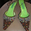 BEVERLY FELDMAN TEXTURED SILK BEADED FRINGED ANKLE STRAP MULES SIZE 10 - BRAND NEW