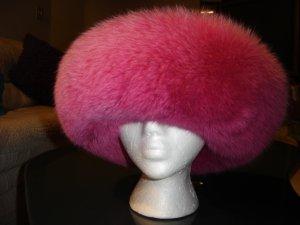 LARISA DESIGN STUDIO NEW YORK FUSHIA FOX TRIMMED FELT HAT - GLAMOROUS!