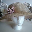 LARISA DESIGN STUDIO NEW YORK ROMANTIC STRAW HAT with MINI PINK ROSES - DELICATE & DELIGHTFUL!