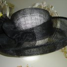 SS SOMETHING SPECIAL BLACK STRAW HAT with RUFFLE - GRACEFUL!