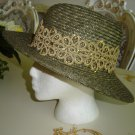 W&S WHITTALL & SHON OLIVE with GOLD BROCADE & SEQUIN TRIM STRAW HAT - BRAND NEW - STATELY!