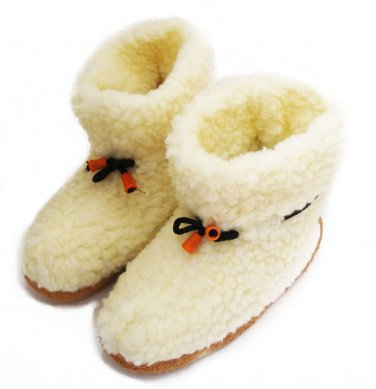 WOOL WHITE WOMEN'S GENUINE SHEEPSKIN SLIPPERS BOOTS 100% PURE WITH LACES 10 US / 7.5 UK / 41 EU