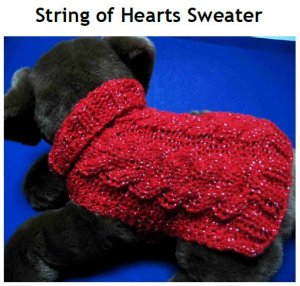 String of Hearts Cable Dog Sweater Knitting pattern PDF