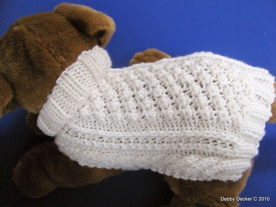 Knitting Pattern For Medium Sized Dog : Aran Dog Sweater knitting pattern Garden Path PDF