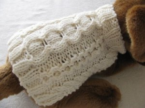 Knitting Pattern For Teacup Dog : Stepping Stones Aran Dog sweater PDF knitting pattern for ...