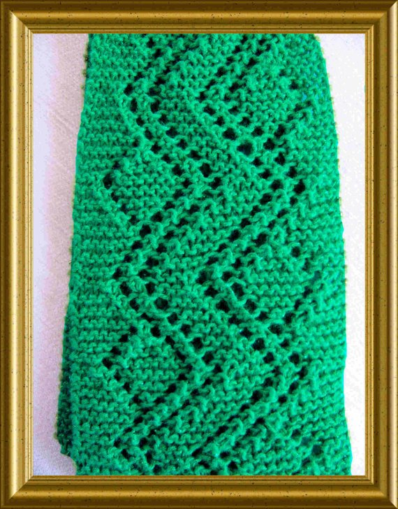Lace Scarf Knitting Pattern Easy : Crooked Path Lace Scarf Knitting Pattern PDF Easy to knit