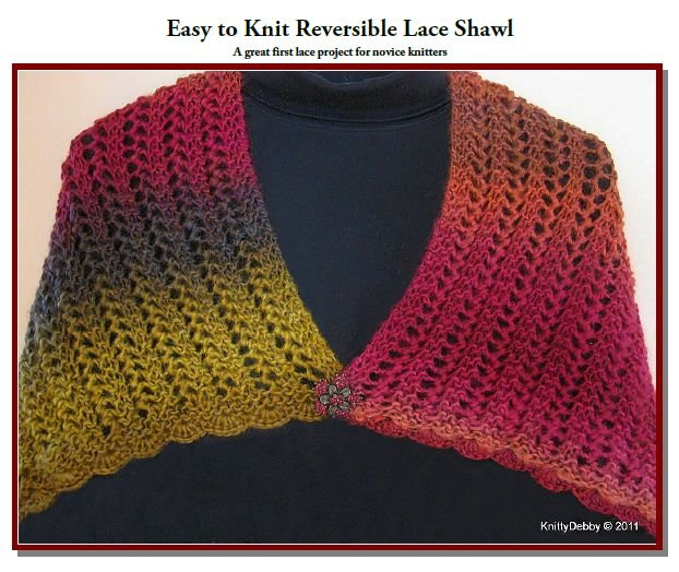 Reversible Lace Knitting Pattern Free : Easy to Knit Reversible Lace Shawl